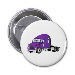 Semi Truck Purple Cartoon Pinback Button