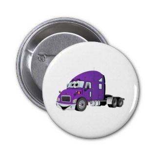 Semi Truck Purple Cartoon Pinback Button