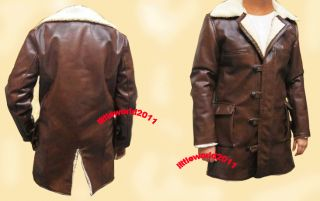 BANE 100% REAL COW HIDE LEATHER / PU TRENCH COAT JACKET   THE DARK