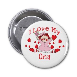 love My Oma Rag Doll & Hearts Pinback Button