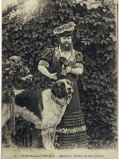 Bearded Lady and Dog Photographic Print