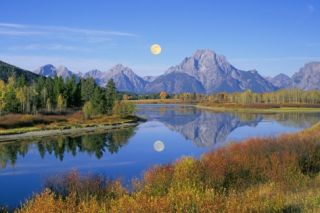 Full Moon Rising Over the Oxbow Bend Poster by Buddy Mays