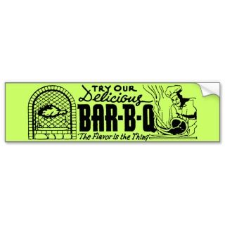 Delicious Bar B Que Vintage Advertisement Bumper Stickers