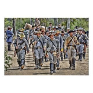 Reenactment of the American Civil war as confederate troops march