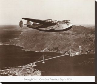 Boeing B 314 over San Francisco Bay, California 1939 Stretched Canvas Print by Clyde Sunderland
