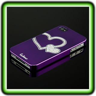 IPHONE 4 4S LUXUS STRASS HERZ HARD CASE LILA Cover Schutz Hülle 4G