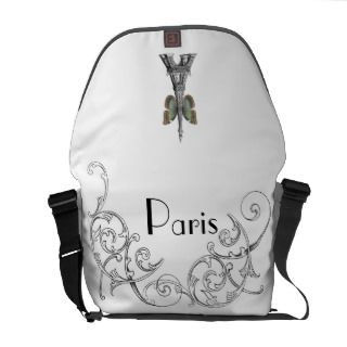 Paris Eiffel Tower Butterfly Messenger Bag