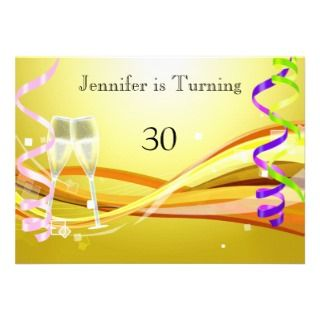 Art Deco Birthday Invitation Sunny color