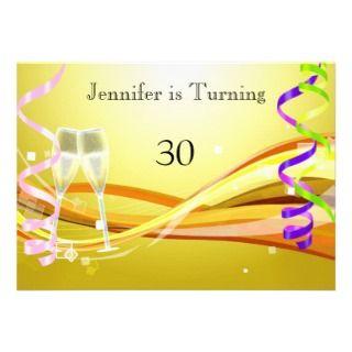 Art Deco Birthday Invitation Sunny color