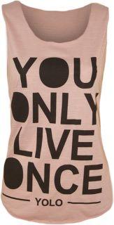 Top Damen YOLO Trägerhemd Aufdruck Ärmellos T Shirt You Only Live
