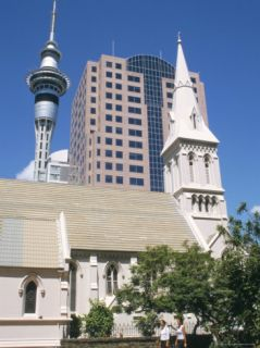 St. Patricks Roman Catholic Church and Skytower, Auckland, North Island, New Zealand Photographic Print by Ken Gillham