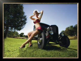 Hot Rod Pin Up Girl Framed Giclee Print by David Perry