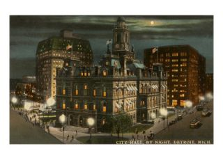 Moon over City Hall, Detroit, Michigan Posters