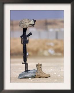 Boots, Rifle, Dog Tags, and Protective Helmet Stand in Solitude to Honor Fallen Soldiers Art by Stocktrek Images