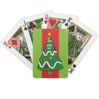 Christmas Tree Guy Cartoon Playing Cards