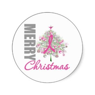 Merry Christmas Breast Cancer Pink Ribbon Wreath Round Sticker