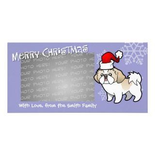 Christmas Shih Tzu (silver parti puppy cut) Customized Photo Card