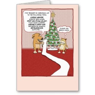 christmas card featuring a dog reading off his very long christmas