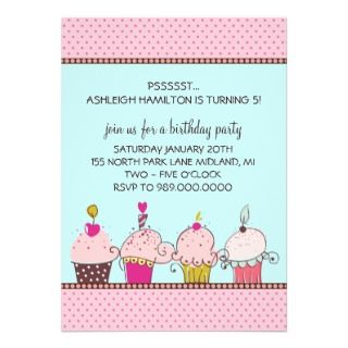 Cupcakes Kids Birthday Party Invitations by whupsadaisy4kids