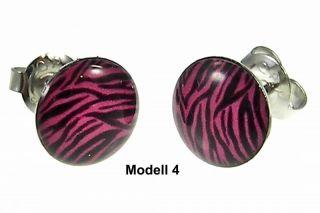 2x Ohrstecker leopard zebra pink rosa schwarz weiß braun Ohrringe