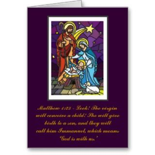 Holy Family Nativity Christmas Card with Bible verses.
