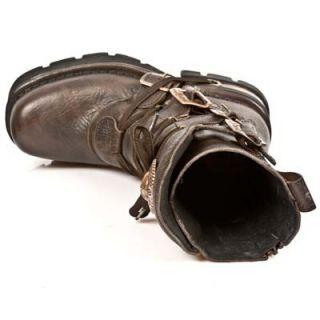 New Rock Schuhe 373 Boots Biker  Stiefel Steampunk Gothic Braun