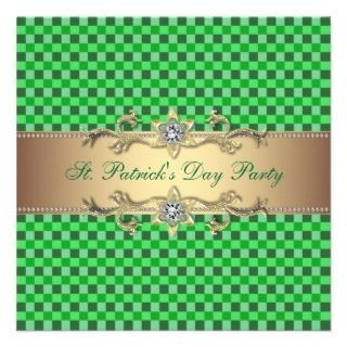 Green Gold Green St. Patricks Day Party Invitation