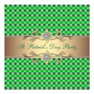 Green Gold Green St. Patricks Day Party Invitation