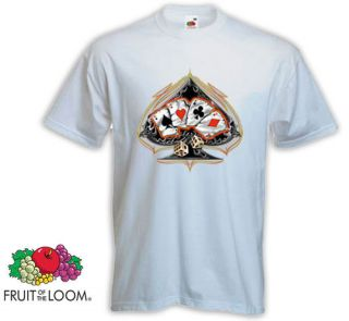 Shirt Hot Rod Poker weiß Rockabilly Tattoo Gamble V8