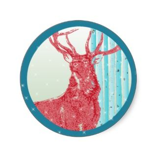 Vintage Red Buck Deer Aqua Birch Tree Snowflake Sticker