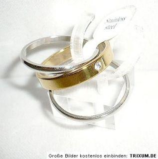 Edelstahl Ringe im Set, Zirkonia, gold, silber, Gr.17, 18, 19, 20