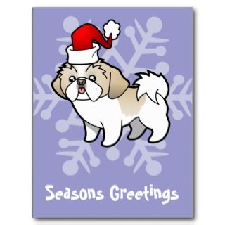Christmas Shih Tzu (silver parti puppy cut) postcards by SugarVsSpice
