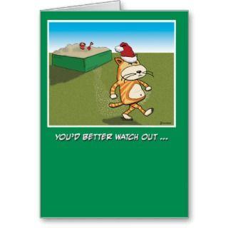 Christmas card: Sandy Claws Cat