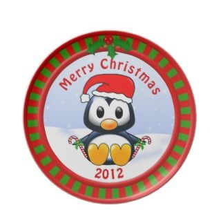 2012 Merry Christmas Plate with Cute Penguin plates by Animatastic