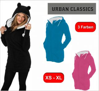 Urban Classics Ladies Long Teddy Zip Hoody Damen Hoody Lange