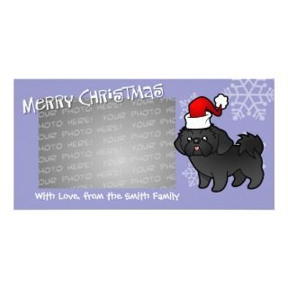 Christmas Shih Tzu (black puppy cut) Photo Card