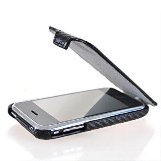 Carbon Leder Tasche Flip Case Handy Cover + Folie Schale für Apple