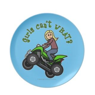 blonde woman atv four wheeler driver party plates see on 147 products