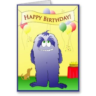 Monster Happy Birthday Greeting Card