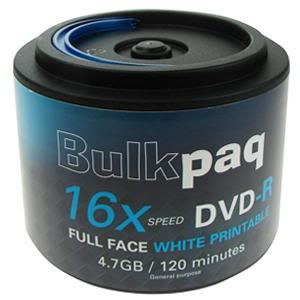 25 Bulkpaq DVD R 16x FULL FACE PRINTABLE 4.7GB/120min