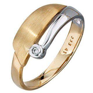 Goldring Damen Ring mit Zirkonia 333 Gelbgold & Weißgold teilmattiert