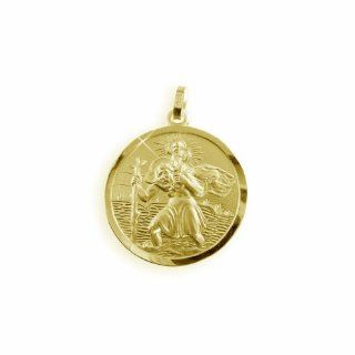 Christophorus Anhänger echt 8 Karat Gold 333 Durchmesser
