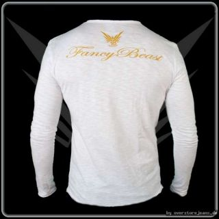 FancyBeast by FB BurnOut Longsleeve V Neek Shirt White Streetwear S M