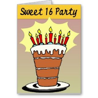 Sweet 16 party invite   Customized Greeting Cards