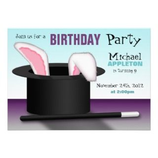 Magicians Hat   Kids Birthday Party Invitations