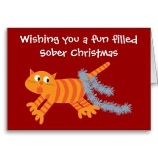 Funny Cat With Tinsel Sobriety Christmas Card