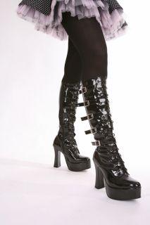 Scharf Plateau High Heels Gothic Lack Stiefel GoGo Stripes Clubwear