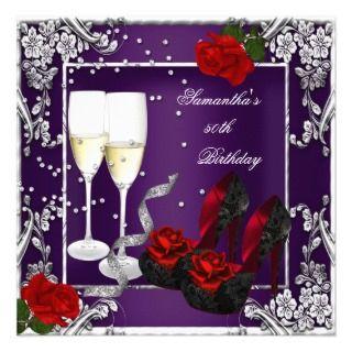 50th Birthday Party Purple Red Rose Silver Custom Invitations