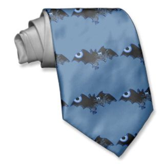 Halloween vampire bat blue black mens tie