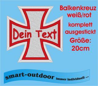 Balkenkreuz Aufnäher Patch Biker MC Wunschname 20cm